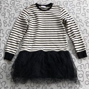 RED Valentino Striped Sweater Tulle Dress
